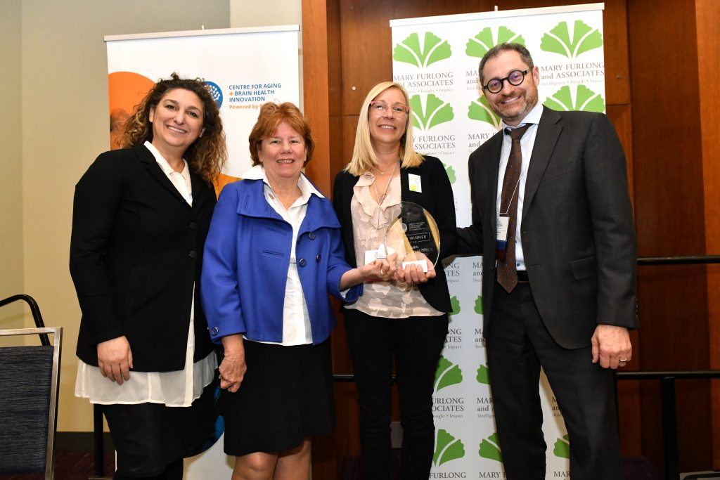 Darmiyan, who are developing an early dementia detection technology with CABHI's support, won the 2019 CABHI Innovation Award. From L-R: Dr. Allison Sekuler (CABHI), Mary Furlong (Mary Furlong & Associates), Dr. Kaveh Vejdani (Darmiyan), and Mel Barsky (CABHI).