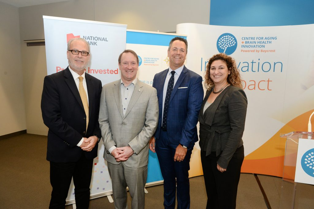 From left to right: Dr. William Reichman, President and CEO of Baycrest; Louis Vachon, President and CEO, National Bank; Josh Cooper, President and Chief Executive Officer, Baycrest Foundation; and Dr. Allison Sekuler, Vice-President, Research at Baycrest, Sandra Rotman Chair in Cognitive Neuroscience and Managing Director of CABHI.