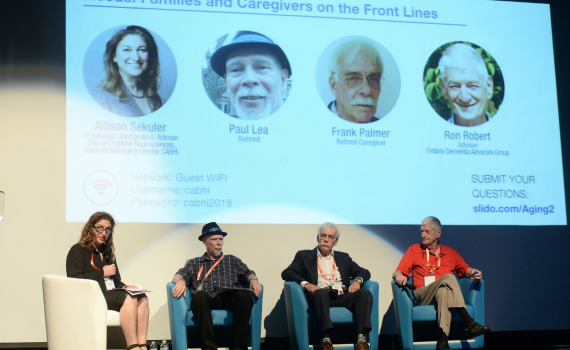 CABHI's Managing Director Dr. Allison Sekuler moderates a panel of family caregivers and individuals living with dementia at the Aging2.0 Brain Health Forum.