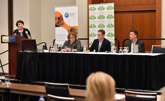 Health research and innovation panel at the 2019 What's Next Canada conference.