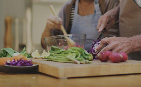 Older adults preparing food