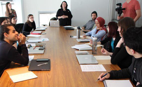OCADU Professor Nancy Snow speaks to students