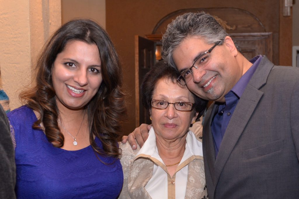 Karim Munjee with his wife Shafreen and mother Sherbanu