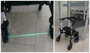 A picture of Laser Walk technology on a walker