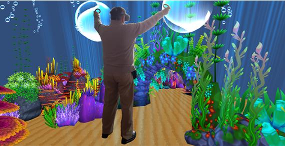 Man playing virtual reality game.