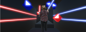 Older adults playing virtual reality game