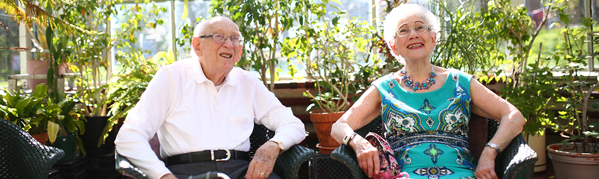 Older adults sitting in a garden
