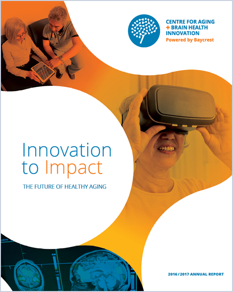 Copy of Annual report cover showing images of older adults interacting with technology