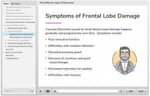 A screen grab of the e-learning module that describes symptoms of frontal load damage