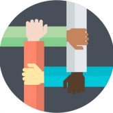 graphic: four arms interlocked