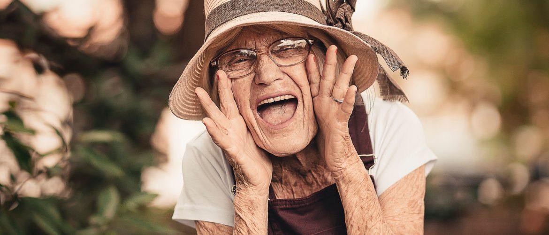 Joyful older woman in natural setting