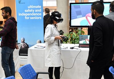 image of scientist with virtual reality headset