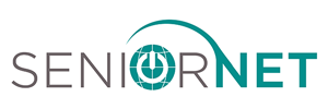 seniornet logo, links to company page